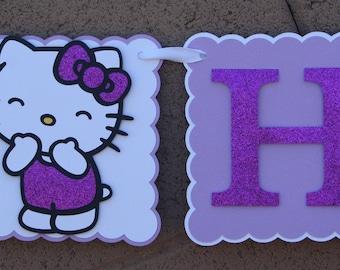 Hello Kitty Birthday Banner. Kitty Cat. Lavender with Purple Glitter. Happy Birthday Banner.