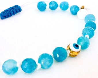 Evil Eye Mala bracelet, Aqua Jade gemstones bracelet, Yoga Bracelet, Meditation Bracelet, Mala Beads bracelet, Healing bracelet, Aqua blue