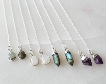 Crystal Threaders; Sterling Silver Threaders; Labradorite Threaders; Moonstone Threaders; Amethyst Threaders; Threader Earrings