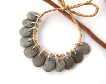 Rock Beads Small Mediterranean Natural Stone River Stone Jewelry Supplies Pairs Small GRAY CHARMS 13 mm