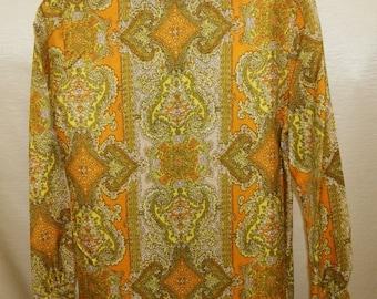 Vintage 1960's Mod Print Career Blouse Shirt Top - Medium