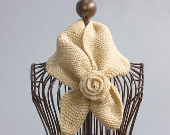 Beige Knit Stay in Place Scarf, Vegan  Keyhole Scarf, Self Tying Neck Warmer