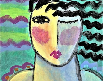 Abstract Portrait of a Woman Hand Painted Ceramic Art Tile