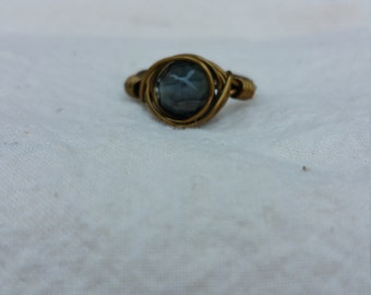 Black Faceted Glass Brass Colored Copper Wire Wrapped Ring