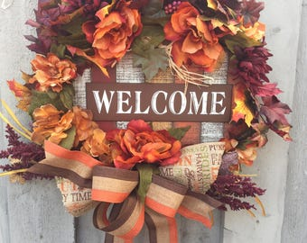 Welcome fall wreath for front door, welcome wreath, fall decor, rustic fall wreath, fall front door, fall wreath with sign