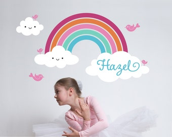 Rainbow Wall Decal with Name for Nursery Baby Girls Room Personalized Cute Happy Rainbow