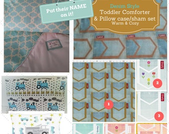 Personalized Toddler Comforter Set - Denim Style, Custom Bedding, Pillow Case / Sham, Kids Comforter Throw, Retro Mod Child Comforter