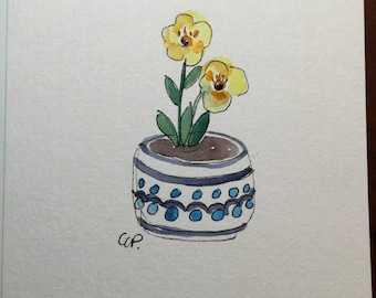 Yellow Blooms Blue Pottery Watercolor Card / Hand Painted Watercolor Card