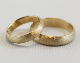 Satin Finish Wedding Band -14 kt Yellow Gold - 4 mm width/1.5 mm thickness - Beautiful Satin Finish - Custom Engraving Inside