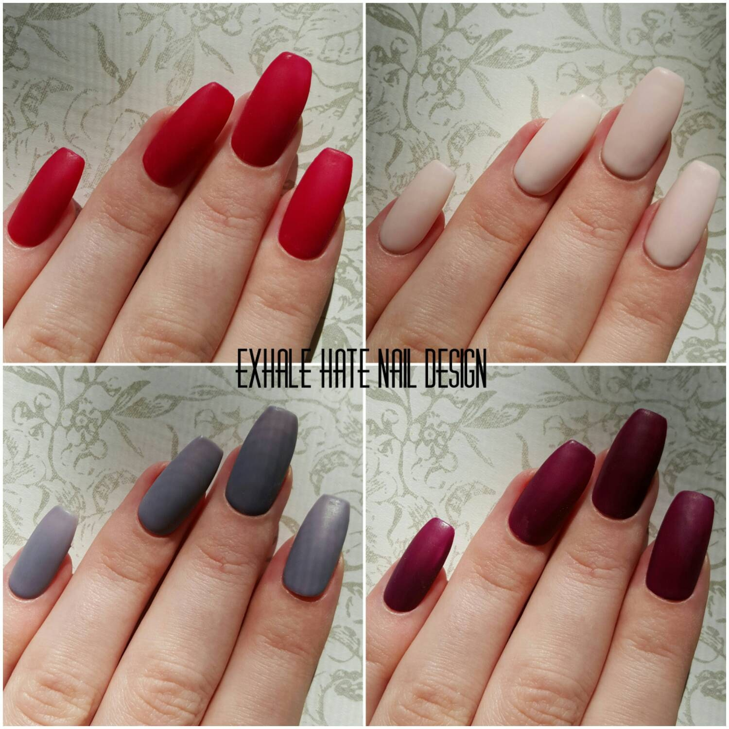 matte fall/winter press on gel polish fake nails beige