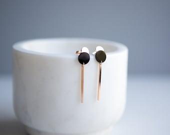 Rose Gold Geometric Disc Bar Stainless Steel Drop Earrings Geometric Earrings Circular Drop Earrings Minimalist Earrings