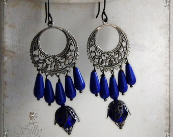 earrings - Blue Moon - blue, chandelier, cobalt blue, antique style, mystic, psychic, whimsical, shoulderdusters