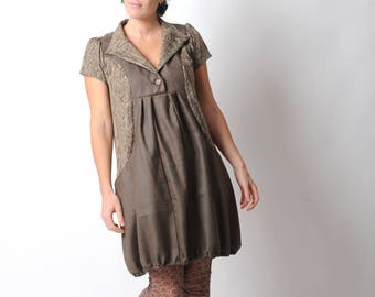 Brown bubble dress, Brown dress with checks and chevrons, short sleeves and wide pockets, Womens clothing, Womens dresses, MALAM Size UK 12