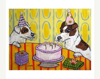 25% off Jack Russell Terrier Birthday Party Dog Art Print