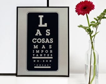 The Most Important Things Spanish, Quote Wall Art, Zen Wall Decor, Black and Gray Print, Digital Print, A3, 11.7 x 15.7 in, 29,7 x 42 cm, A4