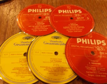 Set of 5 Verdi Opera 33rpm Lp Hand Cut Centers Laminate Coasters