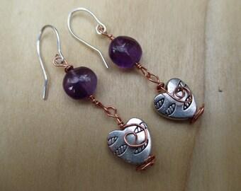 Amethyst Earrings, Celtic Heart Earrings, Spiral Earrings, February Birthstone Earrings, Frbvruary Gift