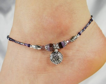 Anklet, Ankle Bracelet, Etched Branches Charm, Purple Anklet, Crystal Anklet, Beaded Anklet, Nature Jewelry, Summer Jewelry, Leaf Jewelry