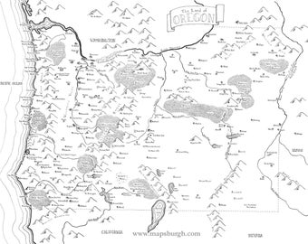 Fantasy map of Oregon