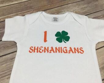 SALE! SHENANIGANS SHAMROCK size 6-12 months short sleeve onesie