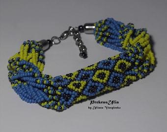Patriotic ukrainian bracelet Ukrainsan necklace bracelet Ukrainian ornament Ukrainian pattern Ethnic jewelry Blue yellow Ukrainian flag
