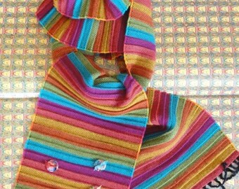 """""""Colorful Notes with ACCORDION"""" scarf with buttons resin"""