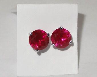 Vintage .925 Silver & 2.10 ct RUBY PIERCED EARRINGS
