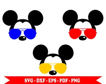 Mickey Mouse aviator with sunglasses svg face head, clip art in svg format, eps, dxf, png, pdf. For Cricut, Silhouette Cameo, vinyl