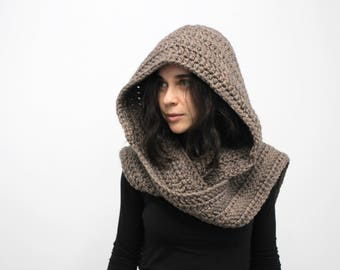 Women's chunky scood, beige scoodie, hooded scarf, Women's hooded scarf, gifts for her, wool scarf