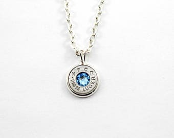 Aquamarine & Silver Dainty Bullet Charm Necklace