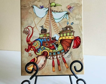 Art Tile, Fantasy Lobster Boat. Original illustrated 8 x 10 steampunk splash tile, nautical wall décor for home, bathroom or kitchen.