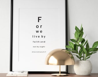 Printable Wall Art - Faith Eyesight Chart - 2 Corinthians 5:7 - Minimal