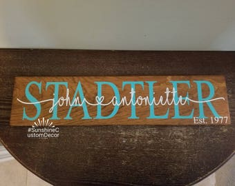 Last name/Established sign, personalized, wedding present, bridal shower gift, housewarming gift, new home owners