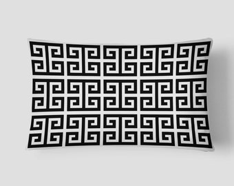 Black White Pillow, Geometric Pillow, Modern Lumbar Pillow, 14x20 Cushion Cover, Square Pattern Cushion, Cover and Insert, Decorative Pillow