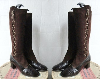 Brown 60s Vintage Suede/Patent Leather GoGo Boots // Lace Up // Size 39