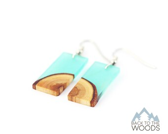 Wooden Earrings From Larch Wood and Turquoise Resin