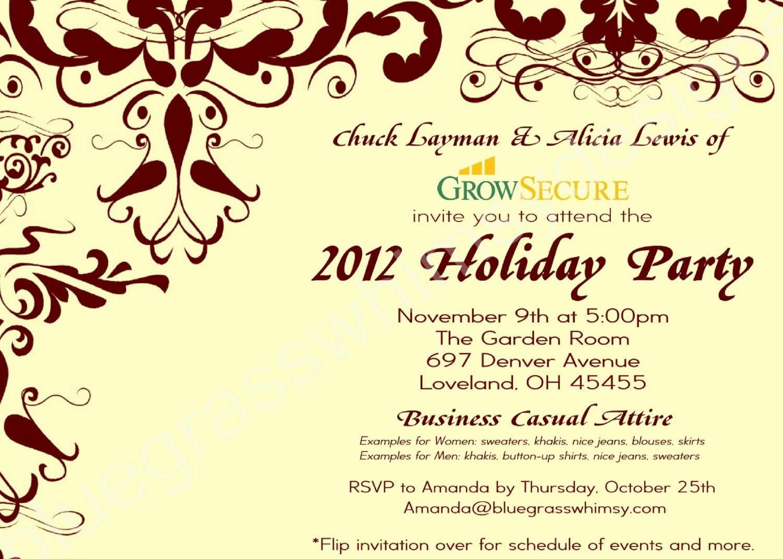 Custom Corporate Holiday Party Invitation w/ Crimson Flourish