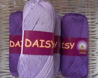 Lilac cotton yarn Mercerized yarn Cotton thread DAISY Vita Cotton Crochet thread Craft supply Knitting yarn Violet yarn Crochet cotton yarn
