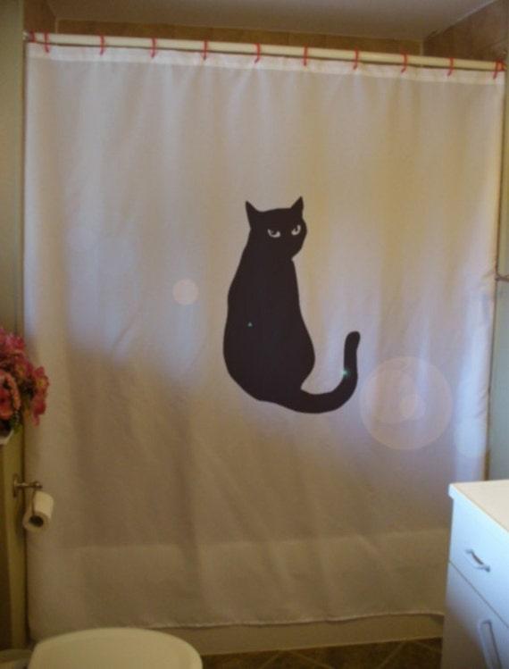 black cat Shower Curtain bright eyes feline curiosity tail