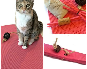 Great Gift for Cat Lover, Pink Yoga Cat Mat Toy, Cat Toys, Yoga Mat, Cat Pad, Cat Scratcher, Pretty in Pink Cat Bed, Catnip Toys