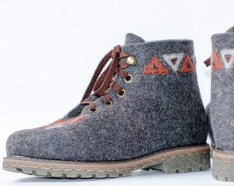 Handmade felt boots women shoes Shrovetide custom shoes winter boots boho style