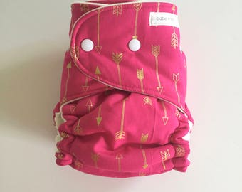 CLEARANCE - Gold Arrows on Fuschia OBF Hybrid Fitted Diaper with Booster - OS Hybrid Fitted Cloth Diaper with Fold Down Rise