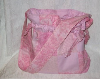 Patchwork Drawstring Tote Mailed Paper Pattern by Sew Practical, Mom and Pop Craft