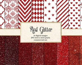 Red Glitter Digital Paper, red glitter textures, Red and White Valentine Scrapbook Paper, Glitter Sparkle Patterns Instant Download