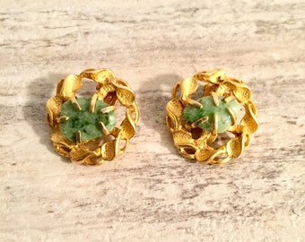 Vintage Jewelry Vintage Earrings Signed BSK, Clip-On Round Gold-tone Intertwined Twisted Wreath Earrings, Natural Green Stone, Non Pierced
