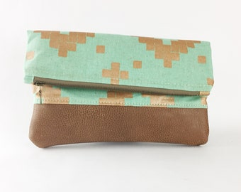 Gift For Her/Tribal Bag/Folded Clutch/Leather/Canvas/Small Bag/Zipper Pouch/Canvas Leather Bag
