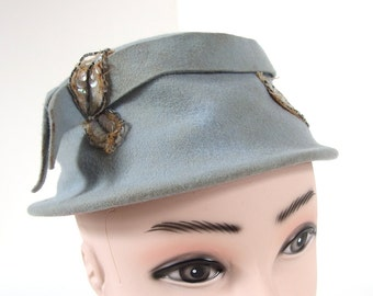 Vintage Blue Cloche with Sequin Leaves