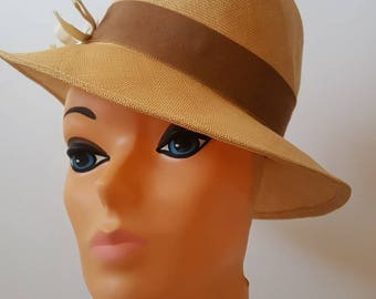 Mid Century Straw Hat with Brown Gross Grain Ribbon and Cream Colored Bows