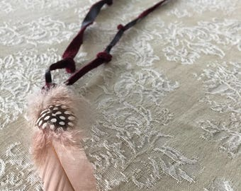 Leather necklace with feather pendant