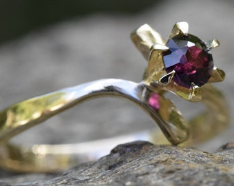 RESERVED for SHARON, Ruby ring, 14K gold ruby ring, natural ruby, ruby anniversary,  ruby bypass, ruby crossover, fortieth 40th anniversary